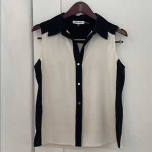 Calvin Klein tuxedo inspired sleeveless blouse